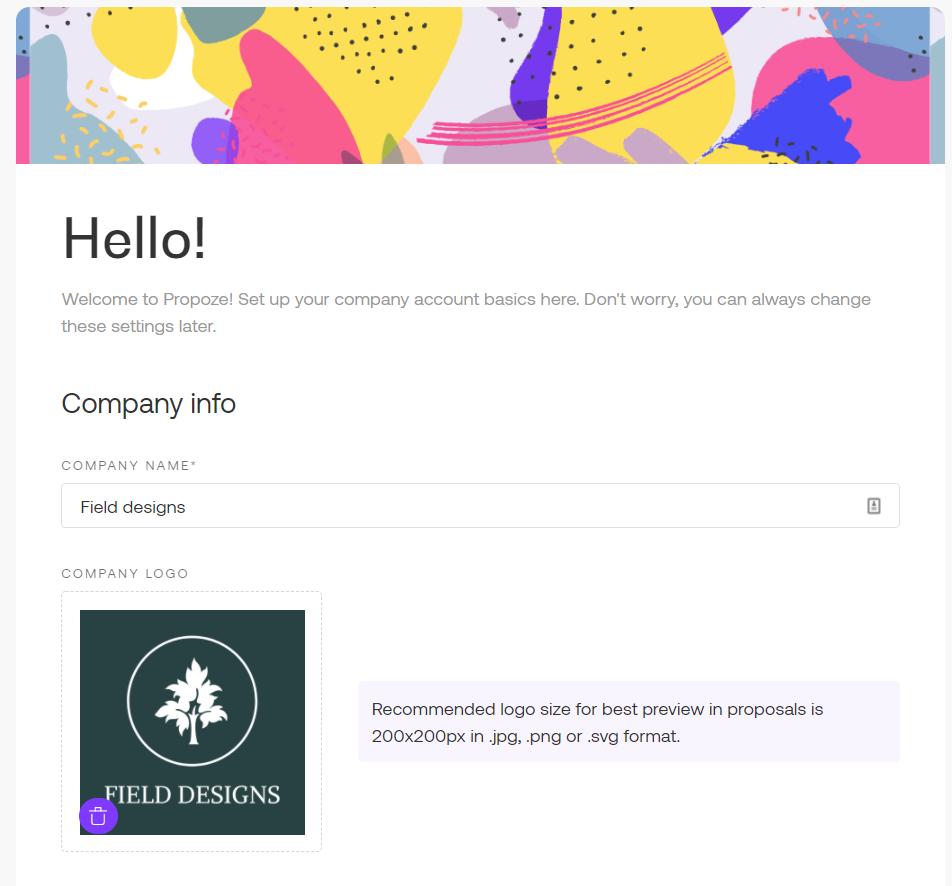 Account setup in Propoze app
