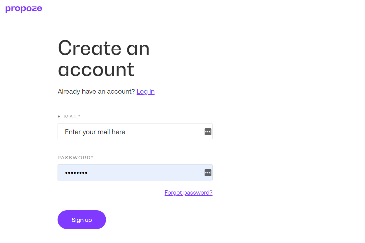 Create an account in Propoze