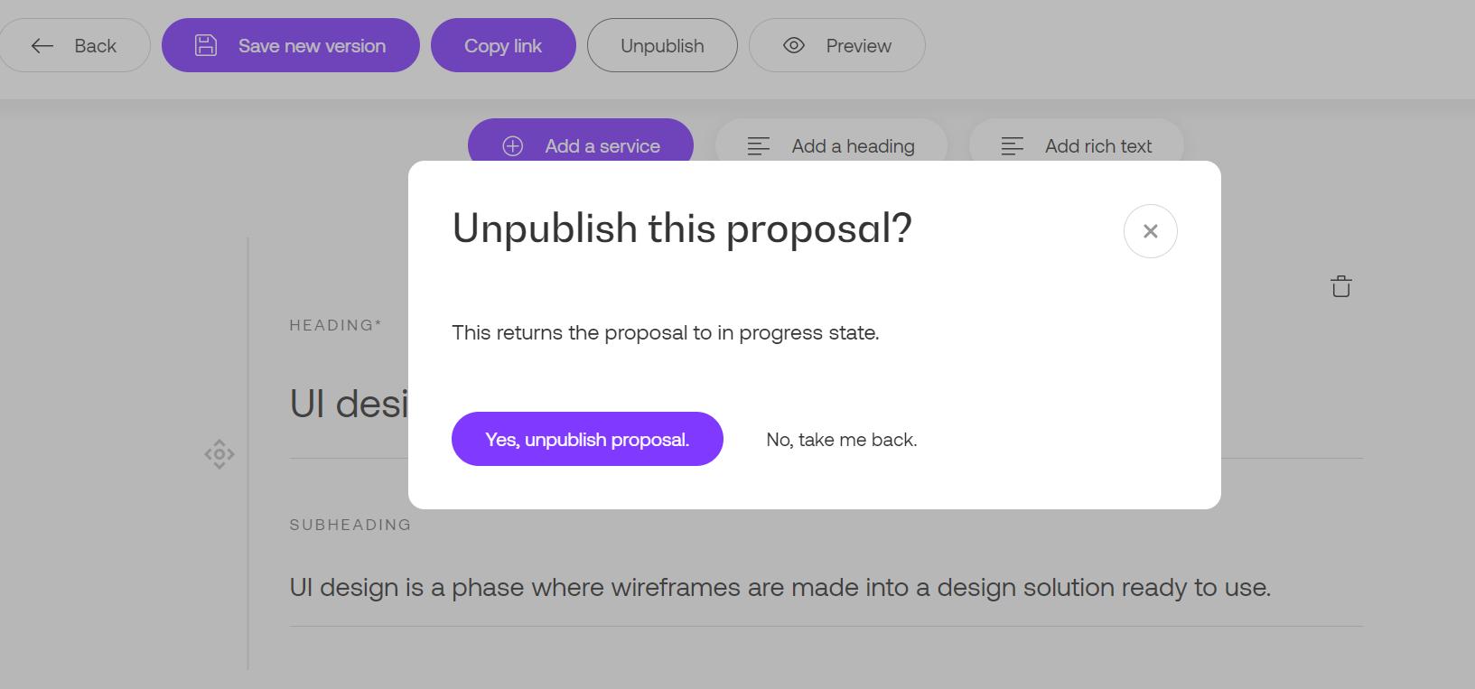 Unpublish proposal in Propoze