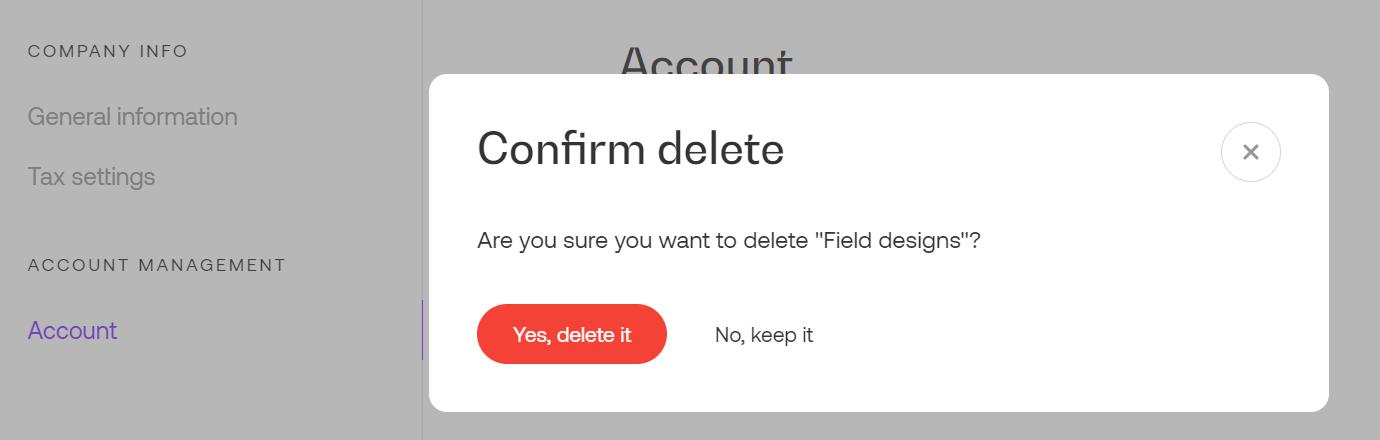 Delete account in Propoze