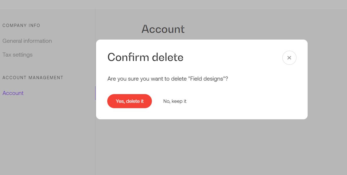 Delete confirmation modal in Propoze