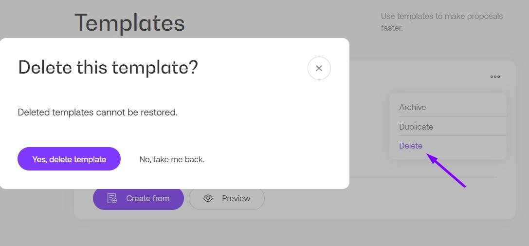Delete template option in Propoze