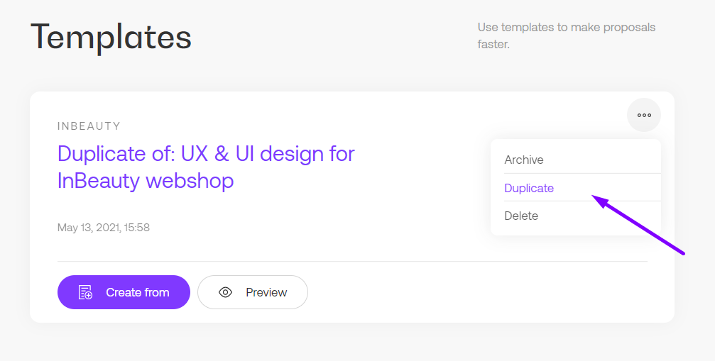 Duplicate templates option in Propoze