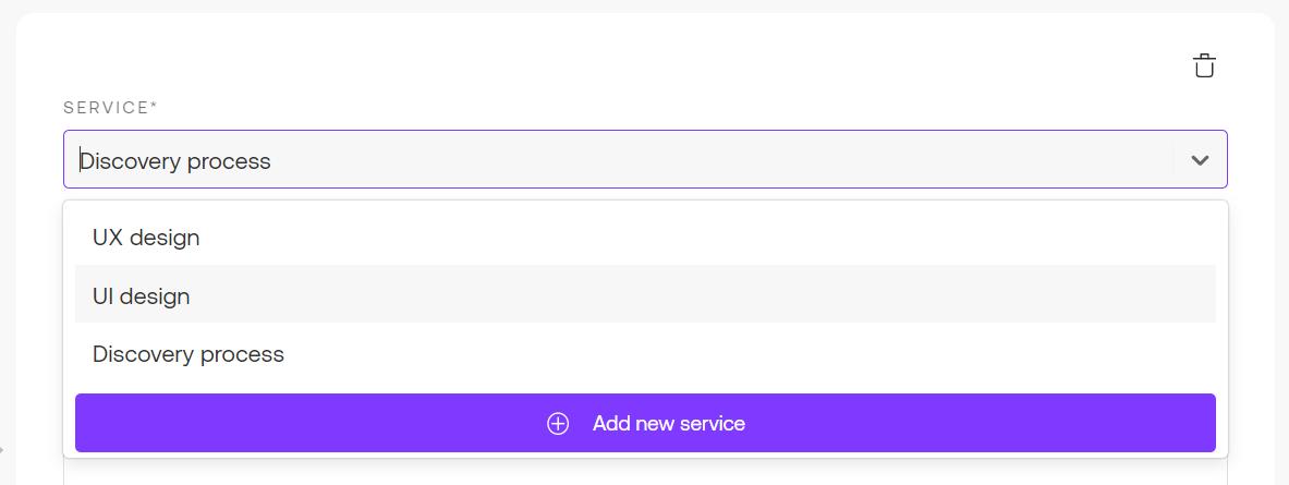 Service drop-down menu selection in Propoze